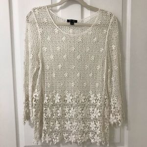 Brittany Black White Lace Long Sleeve Blouse Top